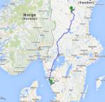 Die zweite Etappe führt von Frillesås bis kurz vor Ytterhogdal (700 km).